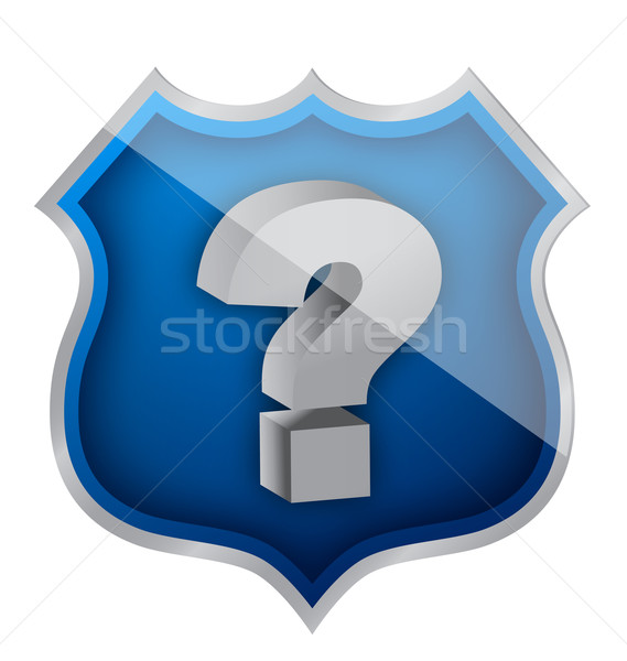 Stock photo: shield question mark illustration design over white