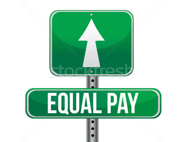 equal pay road sign illustration design over white Stock photo © alexmillos