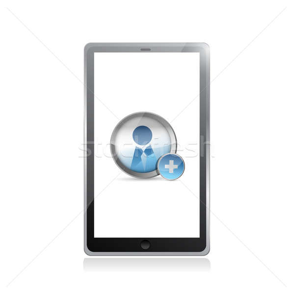 add a friend on a tablet screen illustration design over white Stock photo © alexmillos