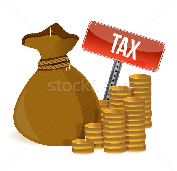 Bag with taxes signs illustration design over white Stock photo © alexmillos
