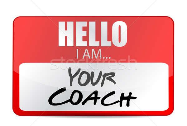 hello I am your coach tag illustration design over white Stock photo © alexmillos
