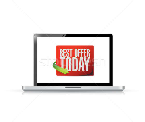 laptop best offer today sign illustration design over white Stock photo © alexmillos
