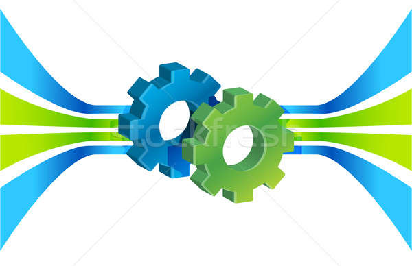 Gears in motion and lines, business process concept illustration Stock photo © alexmillos
