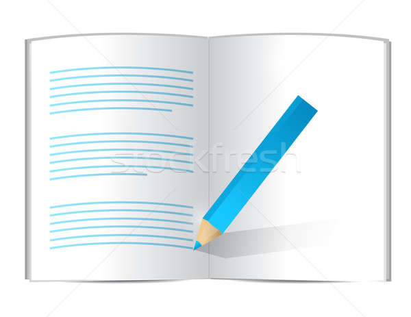 pencil writing on a book. illustration design over white Stock photo © alexmillos