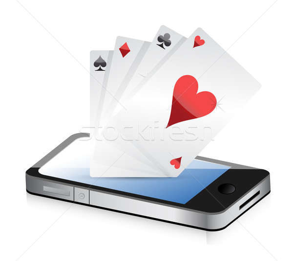 Smartphone Gambling - Poker Aces. Online gambling illustration d Stock photo © alexmillos