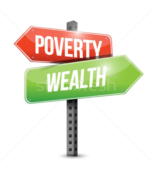 poverty wealth road sign illustration design over white Stock photo © alexmillos