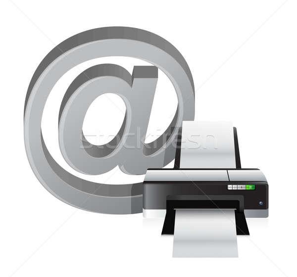 printer and internet at sign illustration design over white Stock photo © alexmillos