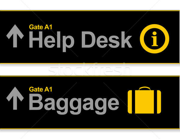 Stock photo: Help desk and baggage airport signs