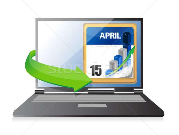 Laptop Tax Deadline Calendar illustration design Stock photo © alexmillos