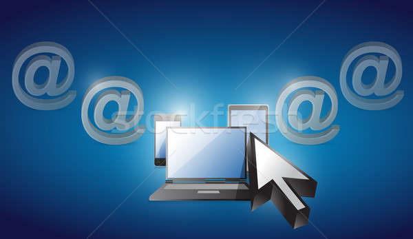 электроника выбранный синий иллюстрация дизайна компьютер Сток-фото © alexmillos