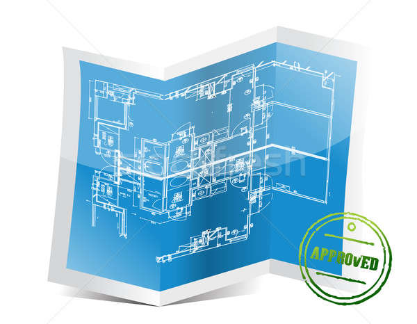 approved blueprint project illustration design over a white back Stock photo © alexmillos