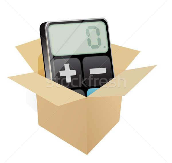 Box and modern calculator Stock photo © alexmillos