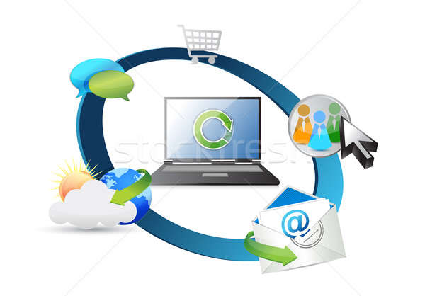 Wireless-Technologie Telefon Internet News Mail mobile Stock foto © alexmillos