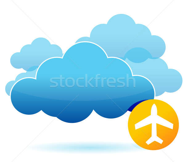 Cloud and airplane illustration design over white Stock photo © alexmillos