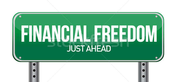 financial freedom street sign illustration design over white Stock photo © alexmillos