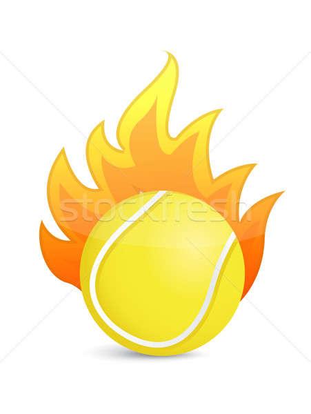 Bola de tênis fogo projeto fumar tênis bola Foto stock © alexmillos