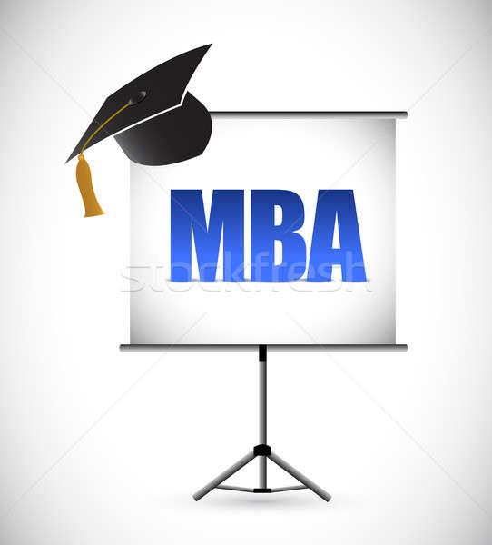 mba education graduation presentation board. illustration design Stock photo © alexmillos