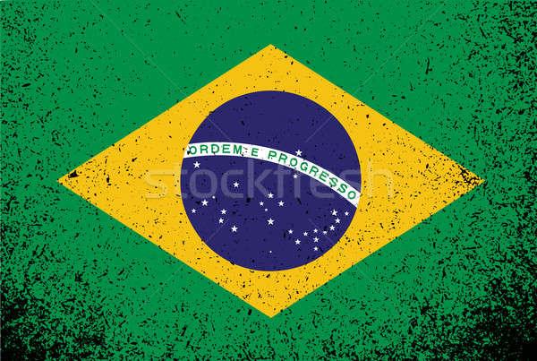 Сток-фото: Бразилия · Гранж · флаг · баннер · иллюстрация · дизайна