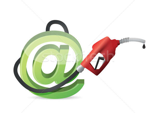 At online symbol with a gas pump nozzle Stock photo © alexmillos