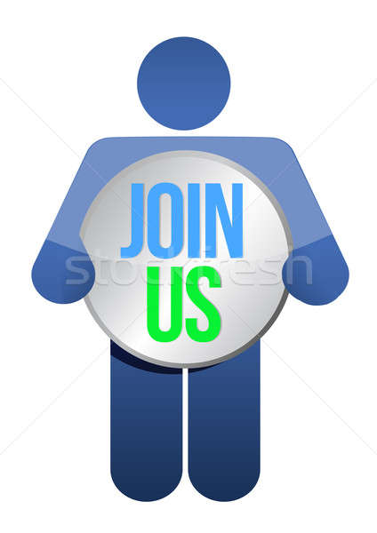 man, person with a button ' Join us'. Businessman illustration Stock photo © alexmillos