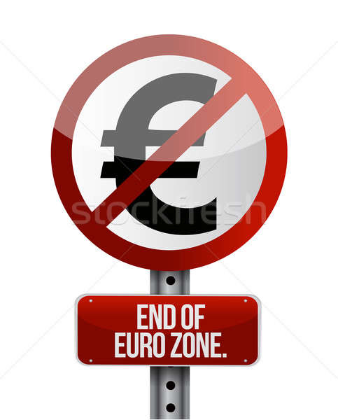 road traffic sign with a euro zone end Stock photo © alexmillos