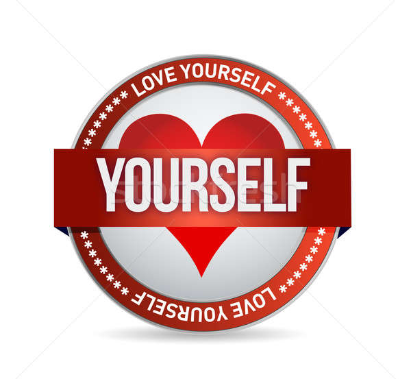 Love Yourself badge illustration Stock photo © alexmillos