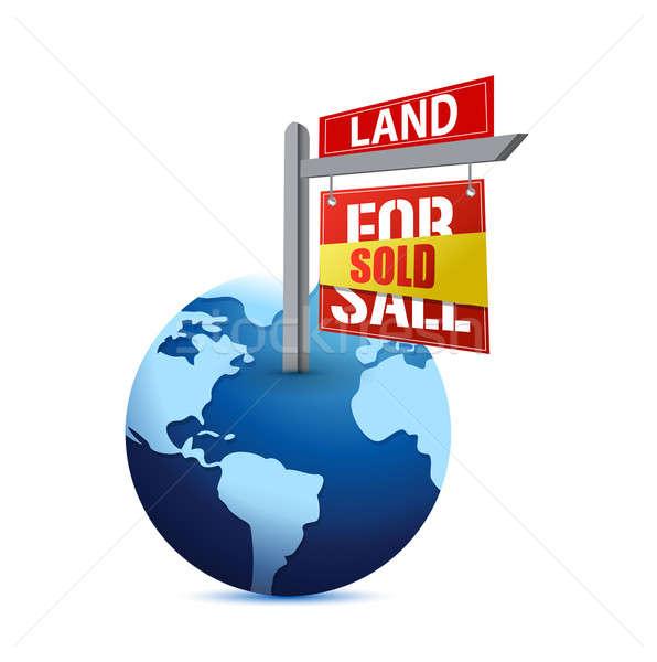 Stock fotó: Eladva · felirat · Föld · illusztráció · terv · fehér