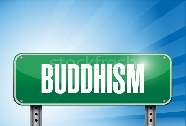 buddhism religious road sign banner illustration Stock photo © alexmillos