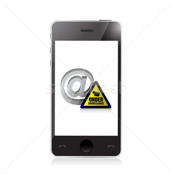 Telefonu Internetu inwigilacja ilustracja projektu biały Zdjęcia stock © alexmillos