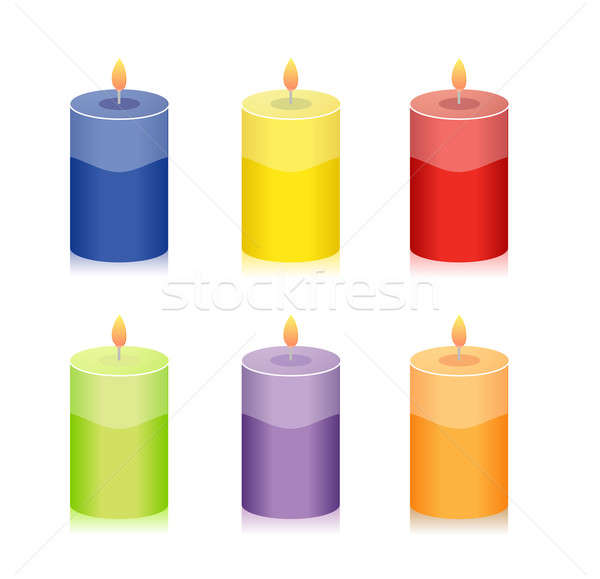 красочный свечу набор иллюстрация дизайна изолированный Сток-фото © alexmillos
