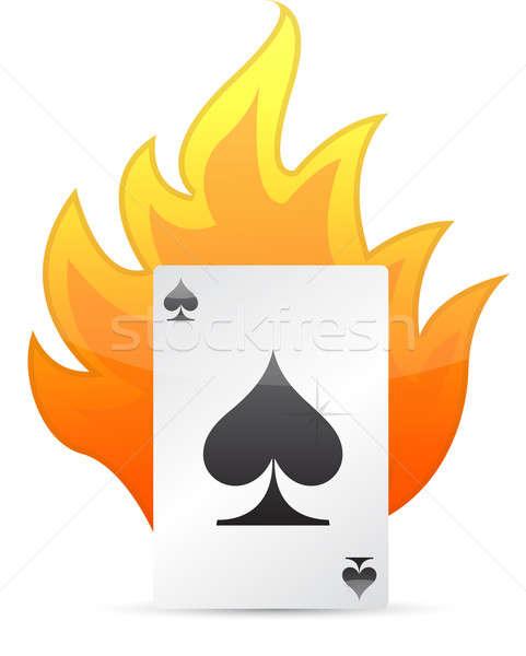 Ace of Spades on fire. illustration design Stock photo © alexmillos