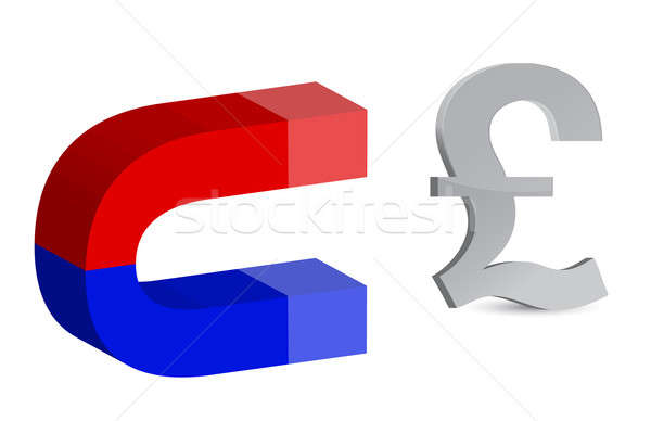 Magnet and pound sign on white background Stock photo © alexmillos