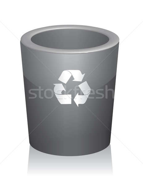 Illustration of a traditional trashcan with a reminder to recycl Stock photo © alexmillos