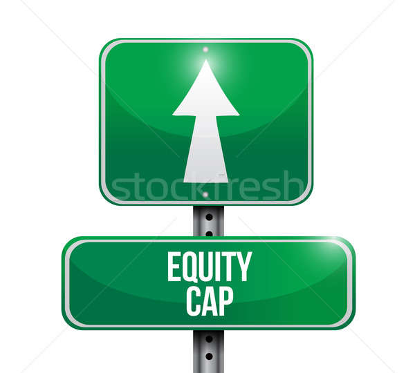 Stock photo: equity cap road sign illustration design over white