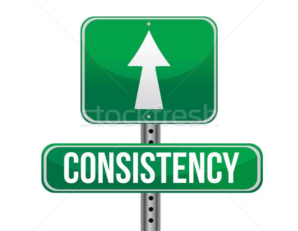 consistency road sign illustration design over a white backgroun Stock photo © alexmillos