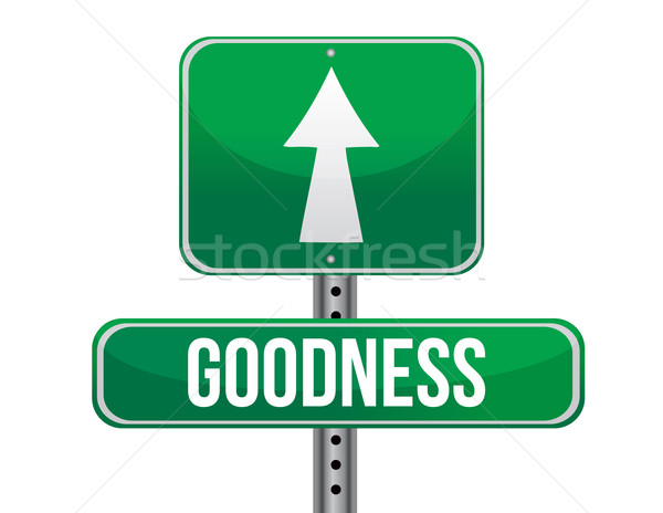 goodness road sign illustration design over a white background Stock photo © alexmillos