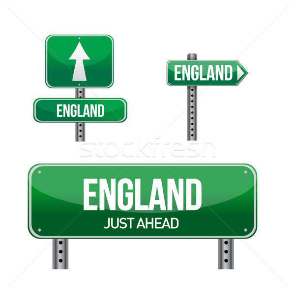 england Country road sign illustration design over white Stock photo © alexmillos