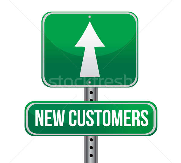 new customers traffic sign illustration design over white Stock photo © alexmillos