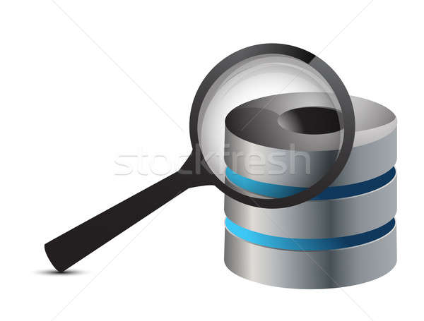 Searching for server content concept illustration design over wh Stock photo © alexmillos