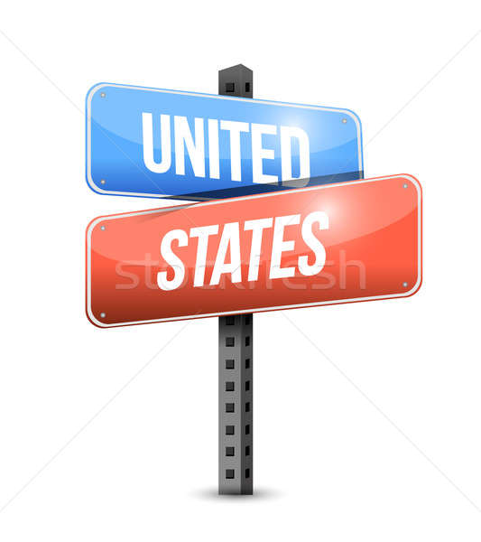 united states road sign illustration design over a white backgro Stock photo © alexmillos