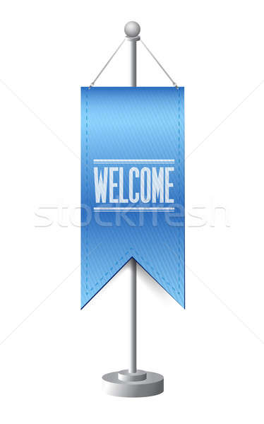 welcome sign stand banner illustration design over white Stock photo © alexmillos