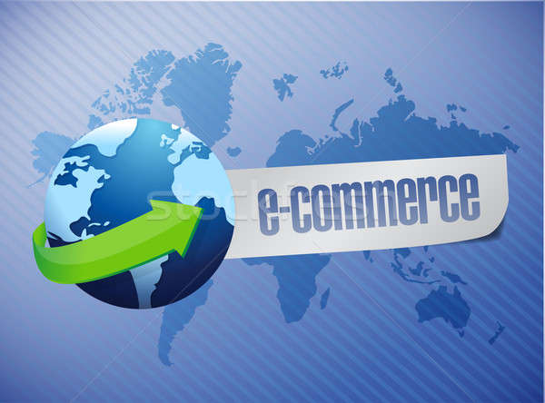 e commerce. world map illustration design over a blue background Stock photo © alexmillos