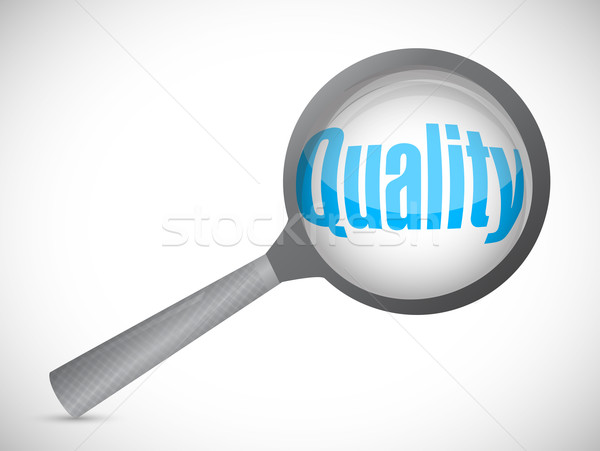 Magnifying glass showing quality word on white background Stock photo © alexmillos