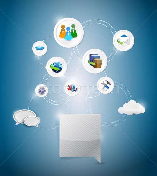 online network settings illustration design over a blue backgrou Stock photo © alexmillos