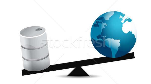 oil and globe balance illustration design over a white backgroun Stock photo © alexmillos