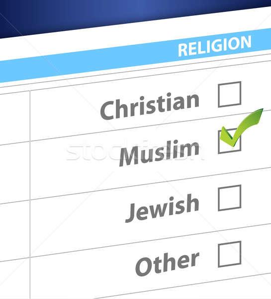 Religione blu sondaggio illustrazione design cross Foto d'archivio © alexmillos