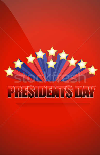 Presidents day sign illustration design over a blue background Stock photo © alexmillos