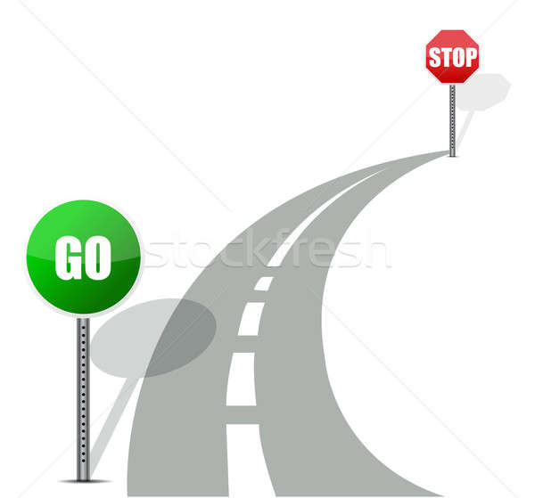 go and stop road illustration design over white Stock photo © alexmillos