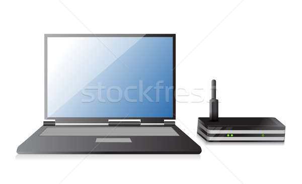 Wireless Router Laptop Illustration Design weiß Stock foto © alexmillos