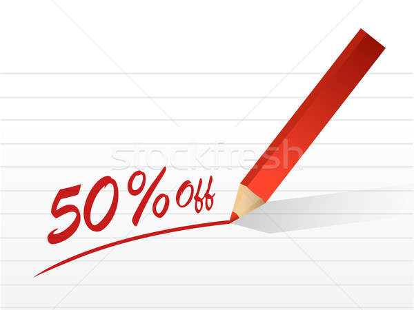 50 percentage off written on a piece of paper Stock photo © alexmillos